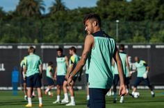 Neymar of FC Barcelona looks on during a training session at the Sant Joan Despi Sport Complex on July 29, 2013 in Barcelona, Spain.