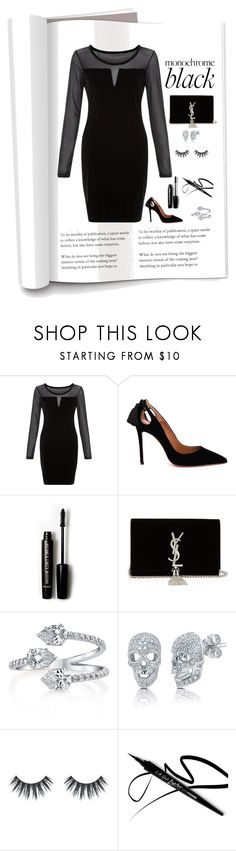 """All Black"" by patricia-dimmick on Polyvore featuring Blue Vanilla, Aquazzura, Forever 21, Yves Saint Laurent, BERRICLE, LBD and allblack"