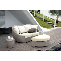 Add stout, sturdy, weather-resistant ottomans to your outdoor furniture collection. These convenient accent pieces will add a soft touch to your patio furniture, and can be matched to your decor's theme or stand out as a bright pop of color. Outdoor Daybed, Outdoor Decor, Skyline Design, Garden Fountains, Contemporary Decor, Furniture Collection, Outdoor Living, Outdoor Furniture Sets, Mango