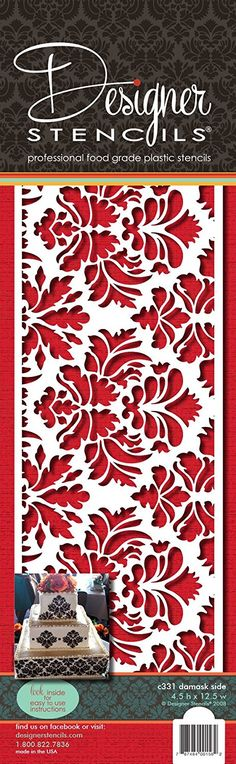 Designer Stencils Damask Cake Stencil Side (4.5'H x 12.5'W) -- For more information, visit image link.