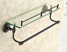 Rozinsanitary Oil Rubbed Bronze Bathroom Glass Shelf Wall Mount Cosmetic Holder with Towel Bar
