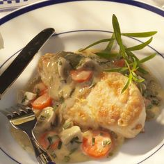 Chicken Fricassee with Tarragon--Fricassee is a classic French stew of chicken and vegetables, cooked in white wine and finished with a touch of cream. The light tarragon-infused sauce begs to be sopped up with crusty bread.
