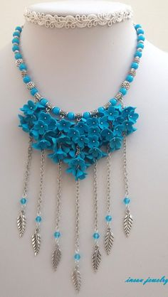 Turquoise Necklace Flower Necklace Statement by insoujewelry