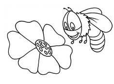 Cute Bumble Bee Flying Over Flower Coloring Pages : Best Place to Color Bee Coloring Pages, Online Coloring Pages, Coloring Pages For Kids, Large Flowers, Colorful Flowers, Honey Colour, Some Fun, Cute, Bees