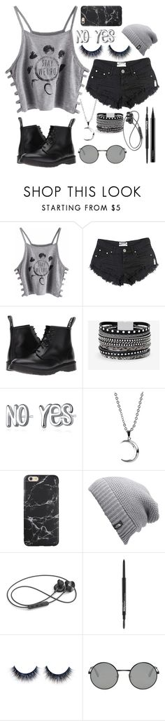 """ŁMøøn Ģrəy aņd Błaķ"" by chi-china ❤ liked on Polyvore featuring OneTeaspoon, Dr. Martens, White House Black Market, The North Face, i.am+, Maybelline, Yves Saint Laurent and MAC Cosmetics"