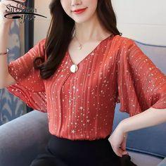 2019 moda plus size 4XL chiffon mulheres blusa camisas encabeça cáqui roupas de manga curta com decote em v das mulheres blusas blusas D644 30