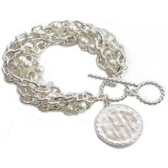 Chain and Pearl Silver Monogram Bracelet.