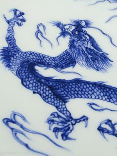 Somestuke (blue and white) porcelain dish in Kameyama style with design of dragon by Hirado Tousyo