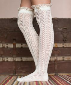 Look what I found on #zulily! Ivory Lace-Trim Over-the-Knee Socks by Three Bird Nest #zulilyfinds
