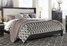 Fancee Contemporary Black Queen UPH Panel Bed