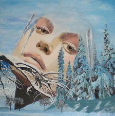 JAHRESZEITEN-ZYKLUS - WINTERFRAU/Acryl auf Leinwand/60 x 60cm Spirited Art, Winter, Artwork, Painting, Seasons Of The Year, Canvas, Winter Time, Work Of Art, Auguste Rodin Artwork