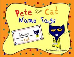 Pete the Cat Name Tags FREE printables.
