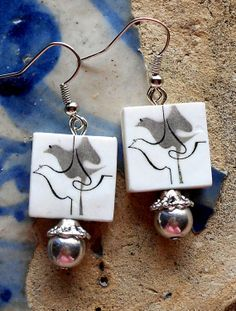 AntiqueTile Replica Earrings from Ovar Portugal ART by Atrio,