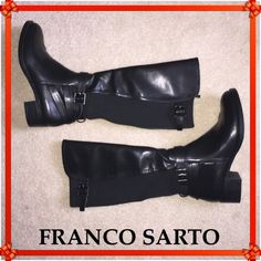 $60 FLASH SALE FRANCO SARTO Black Leather Boots Offer $60 will be acceptedFranco Sarto riding boots in black leather with stretch panel on the back. Decorative strap and buckle at the ankle and adjustable buckle at the top. Excellent Condition - worn once! Franco Sarto Shoes Heeled Boots