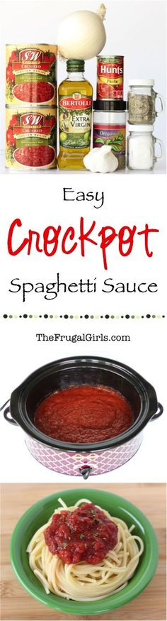 Easy Delicious Crockpot Spaghetti Sauce Recipe! ~ from TheFrugalGirls.com ~ just toss it in the Slow Cooker and walk away! Use it as a Pasta Sauce, Breadstick Dip or even Pizza Sauce! #slowcooker #recipes #thefrugalgirls