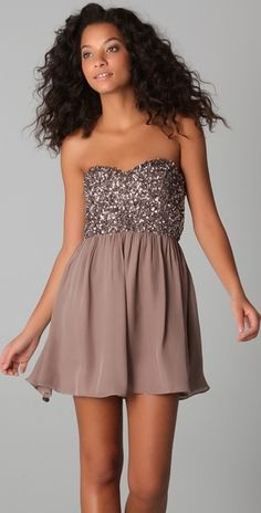Some sparkle maybe?  Parker Cluster Beaded Strapless Dress in Purple (mauve) - Lyst