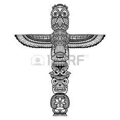 art amÉrindien: Doodle totem religieux traditionnel indien isolé sur fond blanc illustration vectorielle Illustration