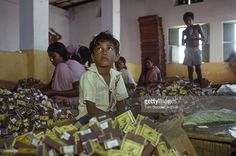 Child labourers working at a match factory, where children as ...