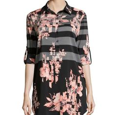 """Floral Tunic Top Can Be Worn as a Tunic or a Dress. Hi-Lo Hem. Front Length: 33.5"""" Back Length: 38"""" 96% Polyester/4% Spandex. No Trades. joan vass Tops Tunics"""