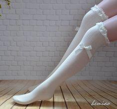 White lace top bow socks thigh high socks Knee high by Hemiao Smart Women Never Go for Boring Socks, White Thigh High Socks, Knee High Sock Boots, Over Knee Socks, Cheap Lingerie, Lingerie For Sale, Lingerie Sets, Lingerie Drawer, Sock Boots Outfit, Lace Socks