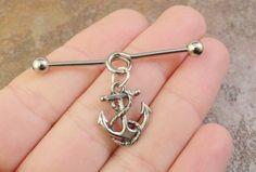 Silver Anchor Industrial Barbell Piercing Upper Ear Ring Cartilage Piercing