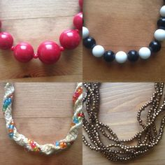 Bundle of necklaces Comes with red beaded necklace, black and white necklace, basket with rainbow beads necklace(kinda like a choker), brown multi strand necklace. Not long all fit so that you can see the necklace on neck and top part of chest Jewelry Necklaces