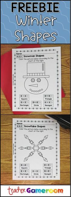 Free worksheets to identify shapes. Includes a snowman and two snowflakes. Perfect for winter and kindergarten centers #winter