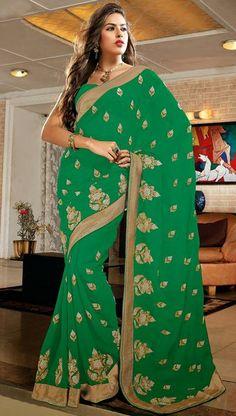 USD 81.96 Green Chiffon Resham Work Party Wear Saree 30065