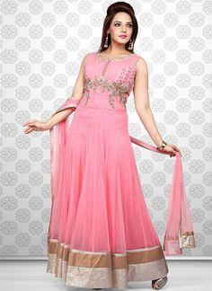 Peppy Pink Net Ankle Length #Anarkali Suit