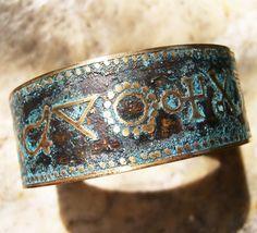 Etched Brass Cuff Alchemy Symbols by AmongTheRuins on Etsy