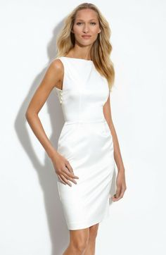 white sheath dress | Black Halo White Stretch Satin Sheath Dress with Back Cutout