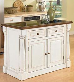 Amazon.com - Home Styles 5009-94 Monarch Granite Top Kitchen Island, Black and Distressed Oak Finish - Kitchen Storage Carts