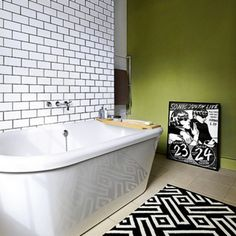 Looking for small neutral bathroom design ideas? Take a look at this small bathroom from Ideal Home for inspiration. For more bathroom ideas, such as how to decorate a small bathroom, visit our bathroom galleries White Subway Tile Bathroom, Bathroom Bath, White Tiles, Bathroom Small, Bathroom Tiling, Bathroom Green, Bath Tub, Bathroom Lighting, Modern Bathroom Decor