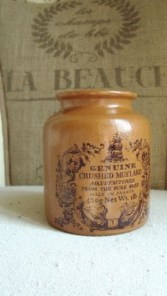 Vintage FRENCH Mustard Pot 1 lb Crock, love the color!