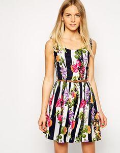 Iska Belted Dress in Stripe & Floral Print asos $39