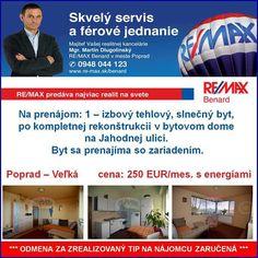 Hľadáte 1 - izbový byt na prenájom v Poprade?   Viac info >> http://www.remax-slovakia.sk/reality/detail/80981/prenajom-bytu-1-izbovy-43-m2-poprad/re-max-benard/M2445/  www.re-max.sk/martindlugolinsky