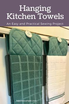 Make a hanging kitchen towel with this easy sewing project. The kitchen towel wi… Make a hanging tea towel with this simple sewing project. The kitchen towel is always where you left it and can also be used as a pot holder! Easy Sewing Projects, Sewing Projects For Beginners, Sewing Hacks, Sewing Tutorials, Sewing Crafts, Sewing Tips, Weaving Projects, Dress Tutorials, Hanging Towels