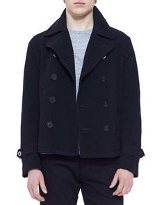 N2KUK Burberry Brit Unstructured Pea Coat, Black
