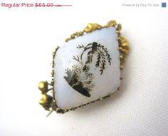 SALE Antique Opal Glass Brooch  14kt Gold by VintageInBloom, $55.25
