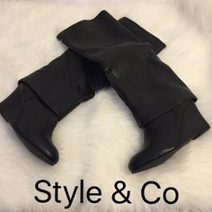 ⭐️New Style & Co Tall Wedged Boots New Style & Co Tall Wedged Boots   The box is a little damaged from being in the closet but nothing wrong with the boots.   These are from Macy's  Color: Black  Size: 6 M  ❌No trades ❌If they are sold elsewhere they will be deleted from here. Style & Co Shoes Over the Knee Boots