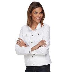 Women's Croft & Barrow® Jean Jacket, Size: XS, White