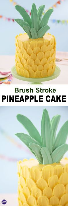 Celebrate summer with this adorable Brush Stroke Pineapple Cake. This cake may look spiky on the outside, but it's sweet on the inside! Use your favorite coconut or pineapple cake recipe to make three delicious cake layers, then decorate your cake with Candy Melts candy petals and leaves to make it look like a festive pineapple. A fun cake for a summer barbecue, birthday or even a retirement party, this brush stroke cake is sure to be the 'pine'apple of everyone's eye!
