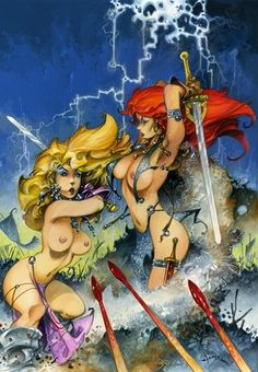 Azpiri Alfonso - Full Circle Project - Lorna Vs Red Sonja Commission - Original Art Comic Art