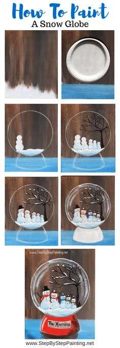 How To Paint A Snow Globe - Step By Step Painting Learn how to paint a snow globe with acrylics on canvas. This beginner painting tutorial will show you how. Customize your own family of snowmen inside. Painting For Kids, Diy Painting, Art For Kids, Painting Snow, Painting Canvas, Painting Tutorials, Winter Painting, How To Paint Canvas, Basic Painting