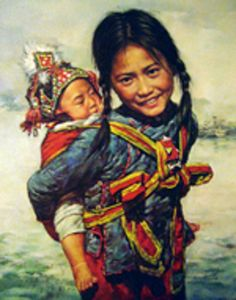 Artist: Kee Fung Ng (Chinese) Baby In Mei Tai Carrier