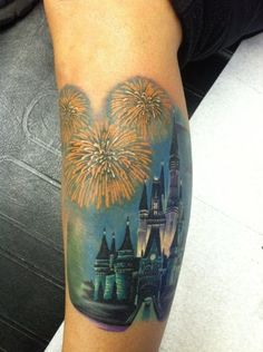 Disney Tattoos - Page 196 - The DIS Discussion Forums - whoever did this tat is UBER talented and I love them =) Future Tattoos, Love Tattoos, Unique Tattoos, Tattoos For Guys, 3d Tattoos, Disney Tattoos, Firework Tattoo, Burg Tattoo, Disney Castle Tattoo