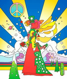 Peace on Earth - Peter Max Vintage Posters, Vintage Art, Psychedelic Artists, Peter Max Art, Feelin Groovy, Outdoor Christmas, Merry Christmas, Whimsical Art, American Artists