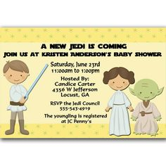 A new Jedi Star Wars Baby Shower Invitation