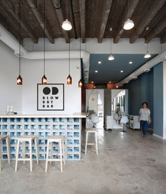 Image 1 of 19 from gallery of OD Blow Dry Bar / SNKH Architectural Studio. Photograph by Sona Manukyan & Ani Avagyan Salon Interior Design, Beauty Salon Design, Beauty Salon Interior, Interior Doors, Blow Dry Bar, Photo Table, Best Barber Shop, Couple Travel, Barbershop Design