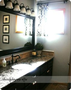 long mirror idea is great! i love the counter tops and the cute little plant in the corner. not a fan of the curtain, but this would definitely be great for a bathroom.